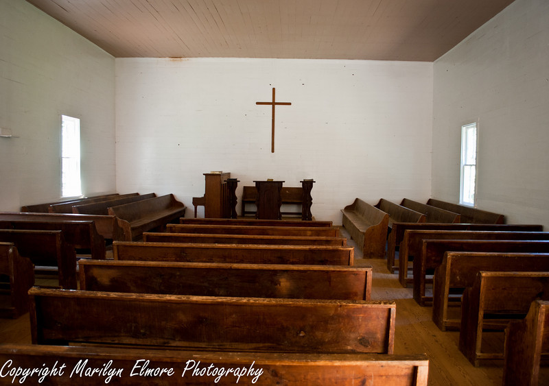 Inside the Primitive Baptist Church of Cades Cove